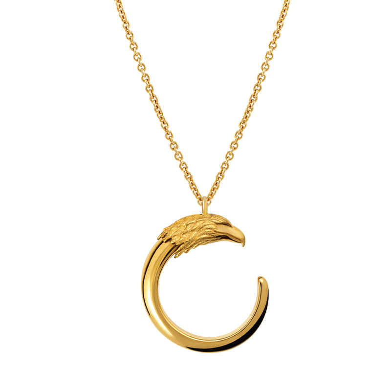 Large gold plated eagle necklace, J00730-02, hi-res