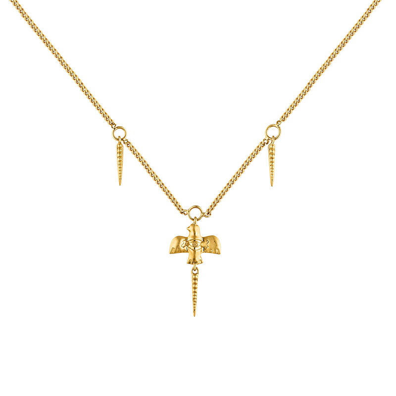 Gold plated bird necklace, J04553-02, hi-res