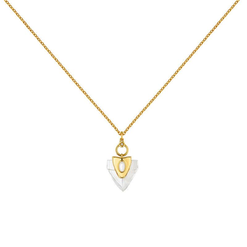 Gold plated silver quartz white topaz arrowhead necklace, J04391-02-HQ-WT, hi-res