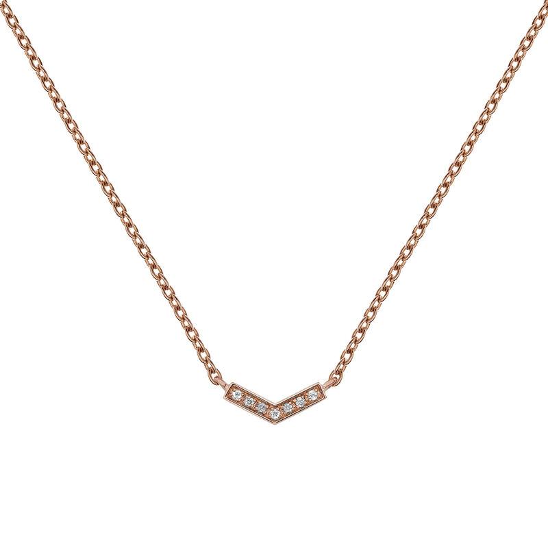 Rose gold plated v-shape necklace with topaz, J03293-03-WT, hi-res