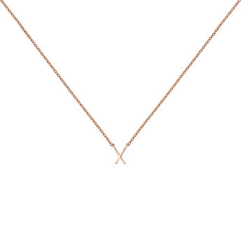 Rose gold Initial X necklace, J04382-03-X, hi-res