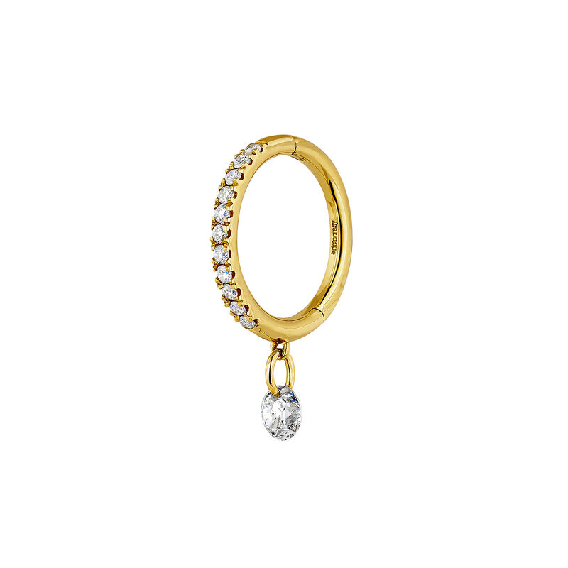 Gold diamonds hoop earrings, J04424-02-H, hi-res