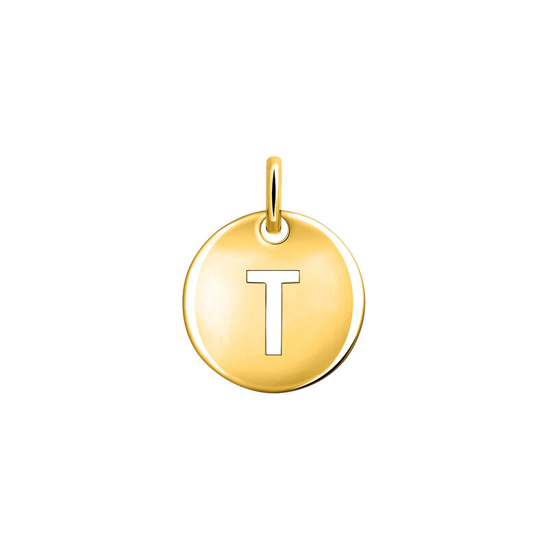 Gold plated initial T medal necklace, J03455-02-T, hi-res