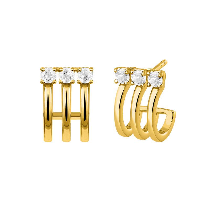 Triple gold plated hoop earrings with topaz, J03256-02-WT, hi-res