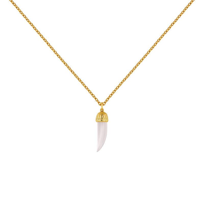 Collier corne quartz rose argent plaqué or, J04389-02-PQ, hi-res