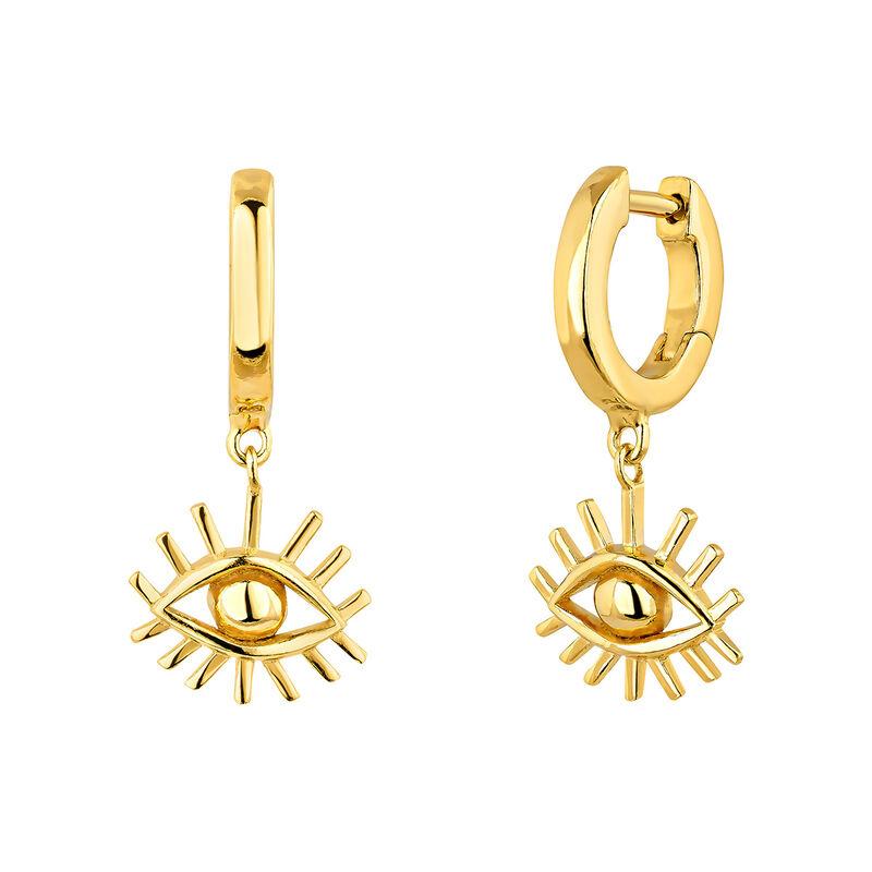 Gold plated silver eye hoop earrings, J04866-02, hi-res