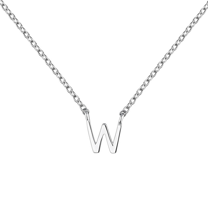 White gold Initial W necklace, J04382-01-W, hi-res