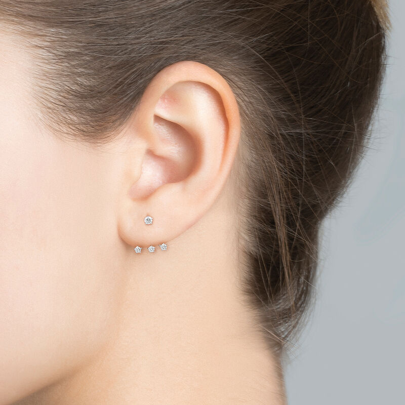 Ear jacket triple diamants or 0,14 ct, J03360-01-H, hi-res