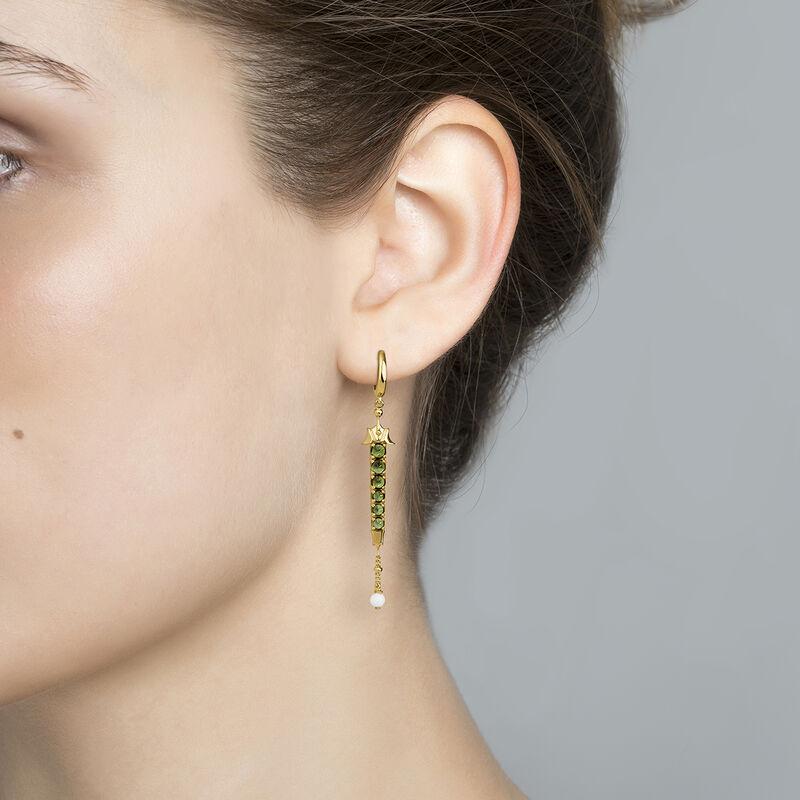 Green gold plated turmaline creole earrings, J04280-02-GTU-WAV, hi-res