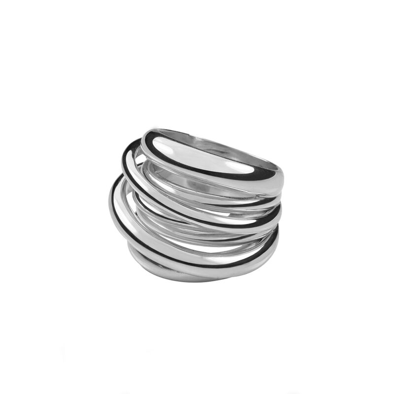 Silver multi-band ring, J00795-01, hi-res