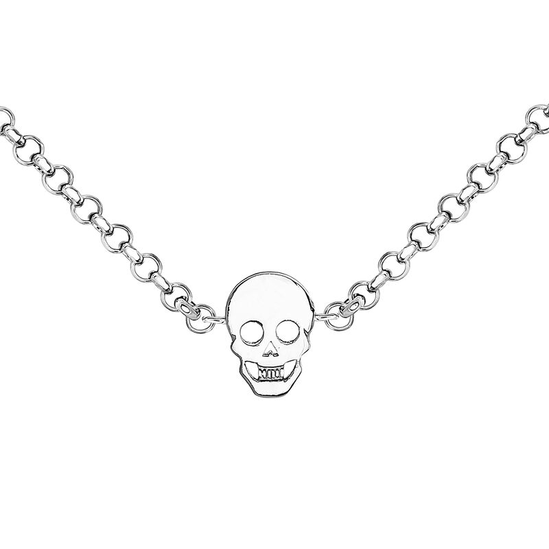 Silver necklace with skulls, J03943-01, hi-res