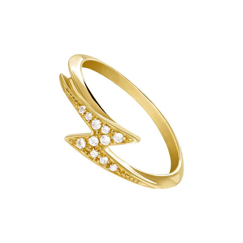 Gold topaz ring with small lightning bolt, J03626-02-WT, hi-res