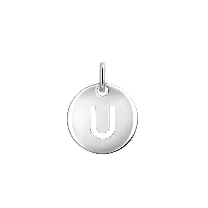 Silver initial U medal necklace, J03455-01-U, hi-res