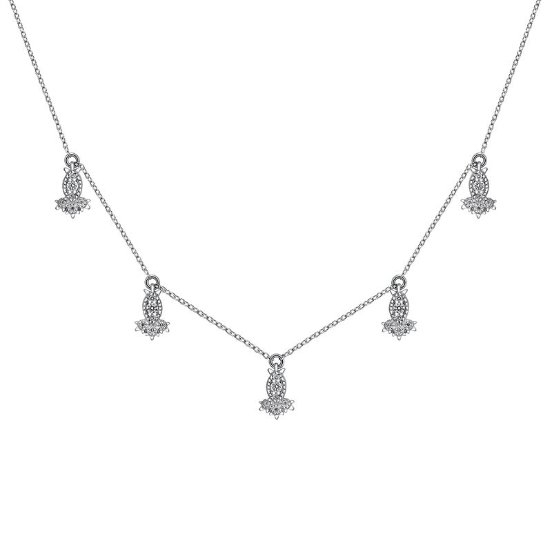 White gold diamond motif necklace 0.141 ct, J03394-01, hi-res