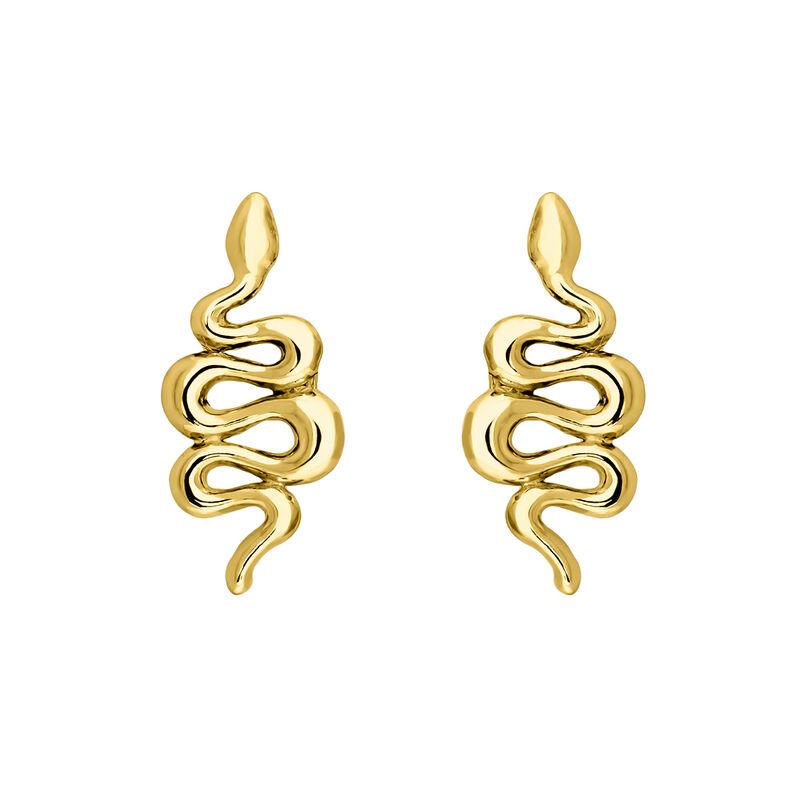 Gold snake earrings, J04010-02, hi-res