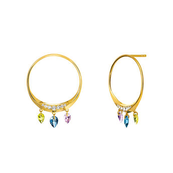 Gold Stone Geometric Hoop Earrings, J03537-02-PEAMLB, hi-res