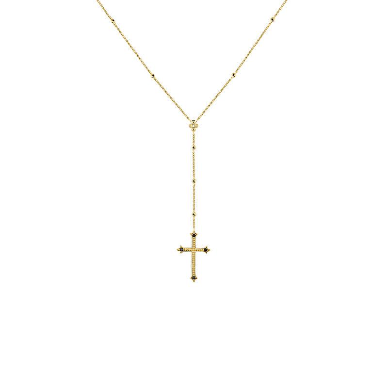 Collar cruz grande colgante espinelas plata recubierta oro, J04236-02-BSN, hi-res
