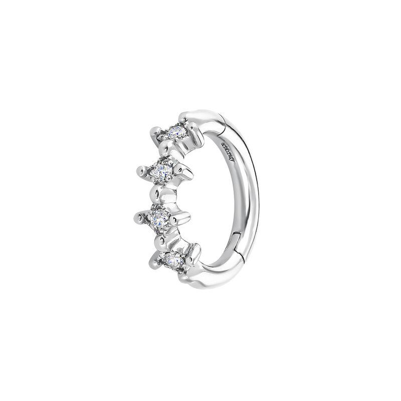 9kt white gold four diamond hoop earring, J04492-01-H, hi-res