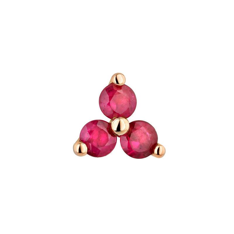 Medium rose gold clover ruby earring, J04348-03-RU-H, hi-res