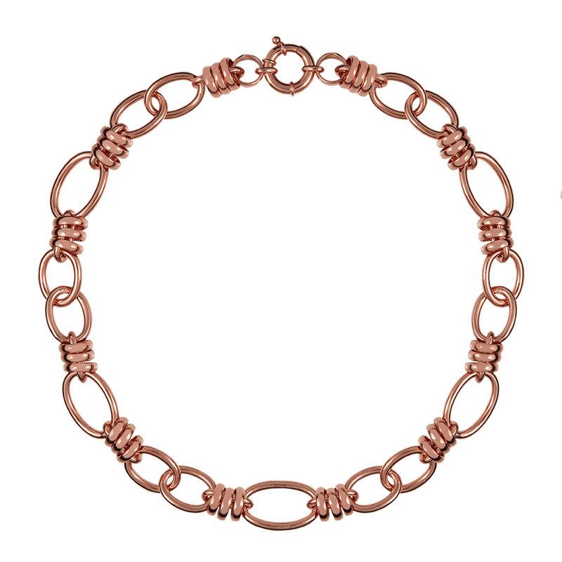 Rose gold spring link necklace, J01337-03, hi-res