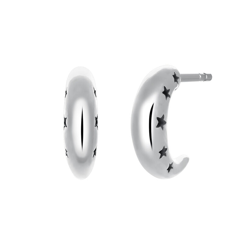 Pendientes de aro luna plata, J03465-01, hi-res