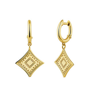 Gold plated ethnic earrings, J04441-02, hi-res