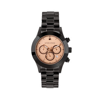 Soho watch black bracelet pink face. , W29A-BLBLPK-AXBL, hi-res