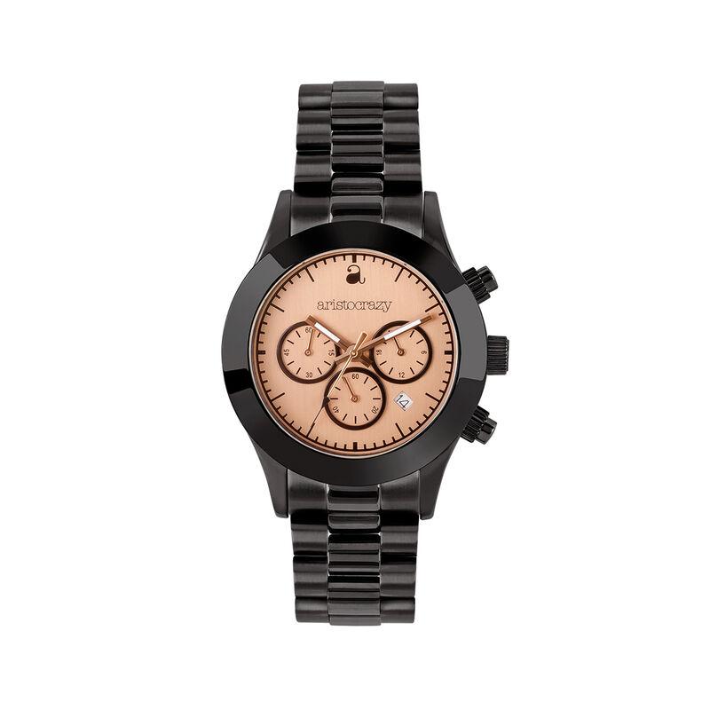 Soho watch black bracelet pink face. , W29A-BLBLPK-AXBL, hi-res
