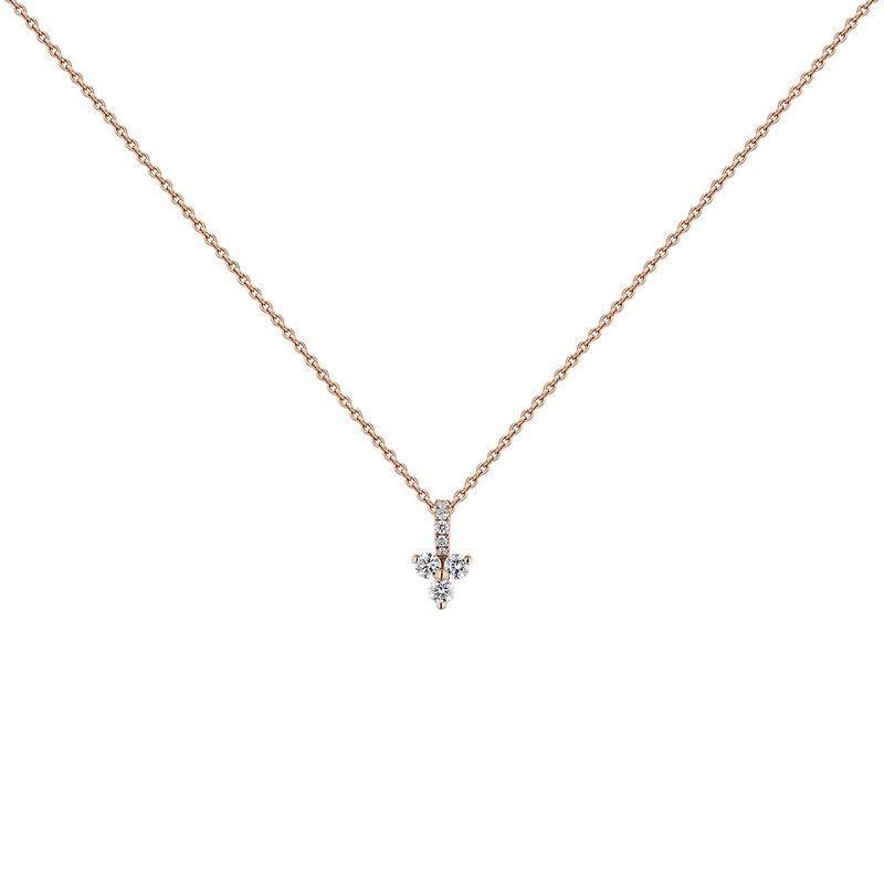 Collar trébol diamantes 0,093 ct oro rosa, J04430-03, hi-res