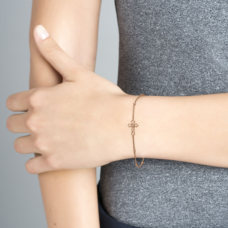 Rose gold bracelet with a medium-sized cross with topazes, J04233-03-WT, hi-res