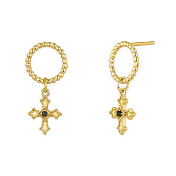 Pendientes aro cruz pequeña espinela oro, J04227-02-BSN, hi-res