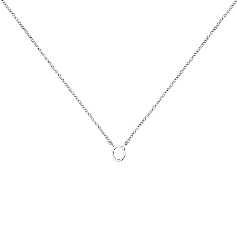 White gold Initial O necklace, J04382-01-O, hi-res