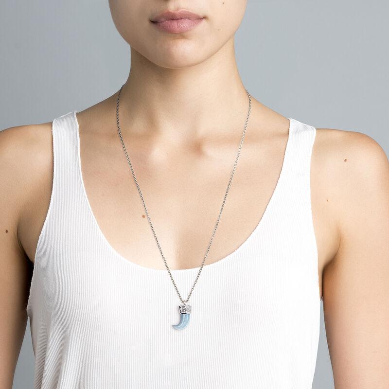 Silver aquamarine horn necklace, J04390-01-AQ-WT, hi-res