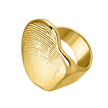 Small gold plated sculptural ring, J04055-02, hi-res