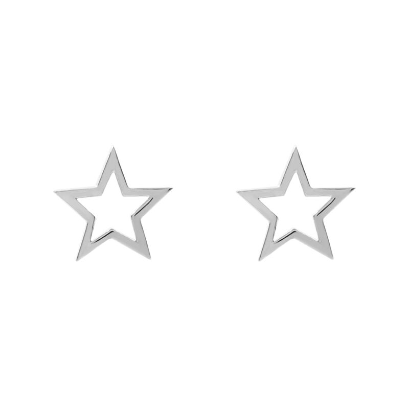 Silver hollow star earrings, J01895-01, hi-res