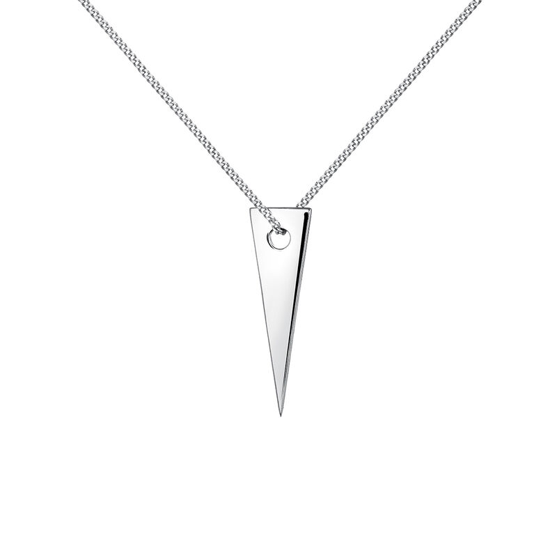 Silver triangle necklace, J03970-01, hi-res