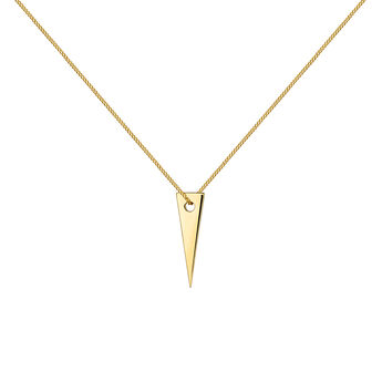 Gold plated triangle pendant, J03970-02, hi-res