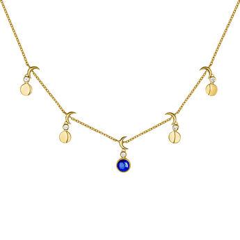 Gold moon motif gemstone necklace, J04002-02-LPS-WT, hi-res