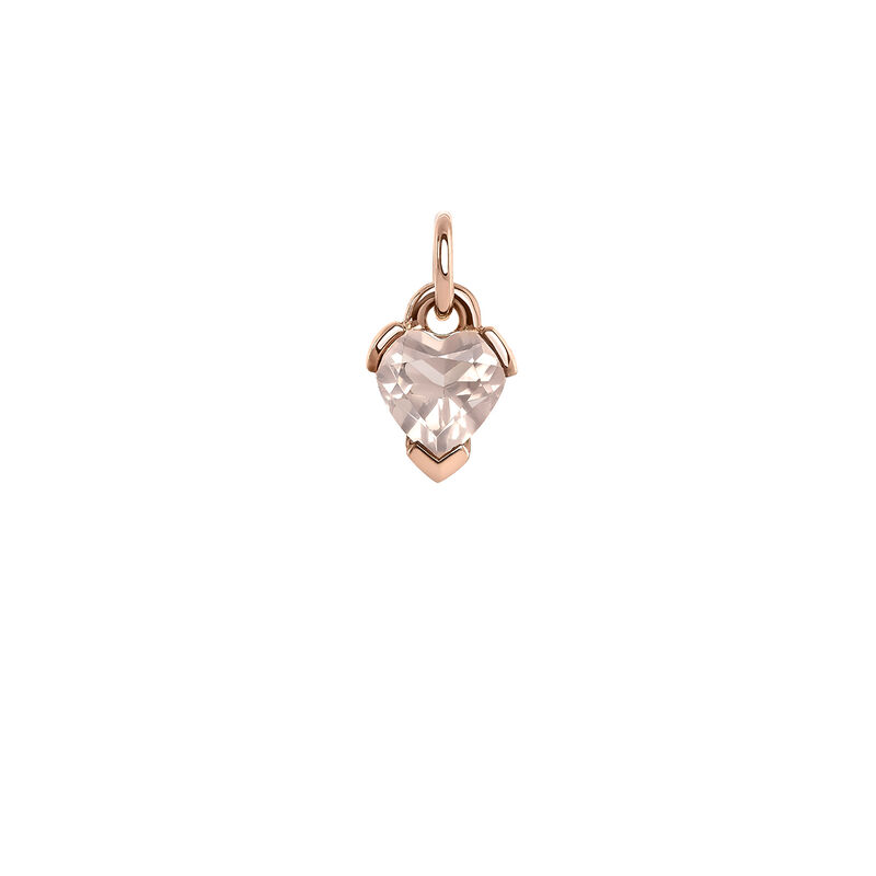 Heart quartz rose gold pendant, PINKGOLDPLATED STERLING SILVER, hi-res