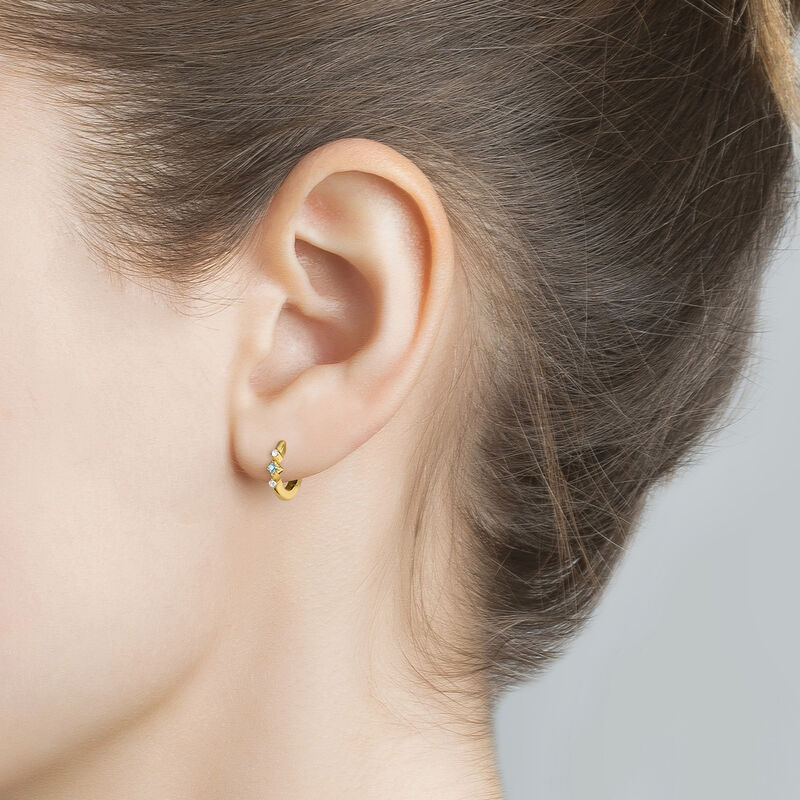 Gold plated topazes hoop earring, J04651-02-SKY-WT-H, hi-res