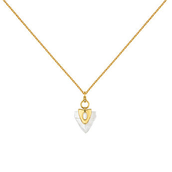 Gold plated silver quartz white topaz arrowhead necklace, J04391-02-HQ-WT, hi-res