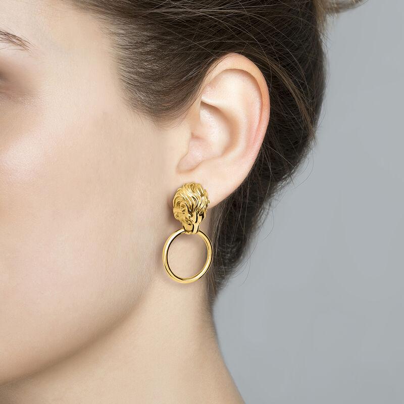 Gold lion earrings, J04238-02, hi-res