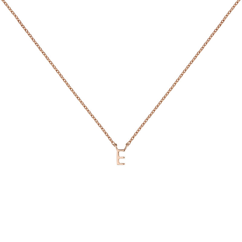 Collier initiale E or rose, J04382-03-E, hi-res