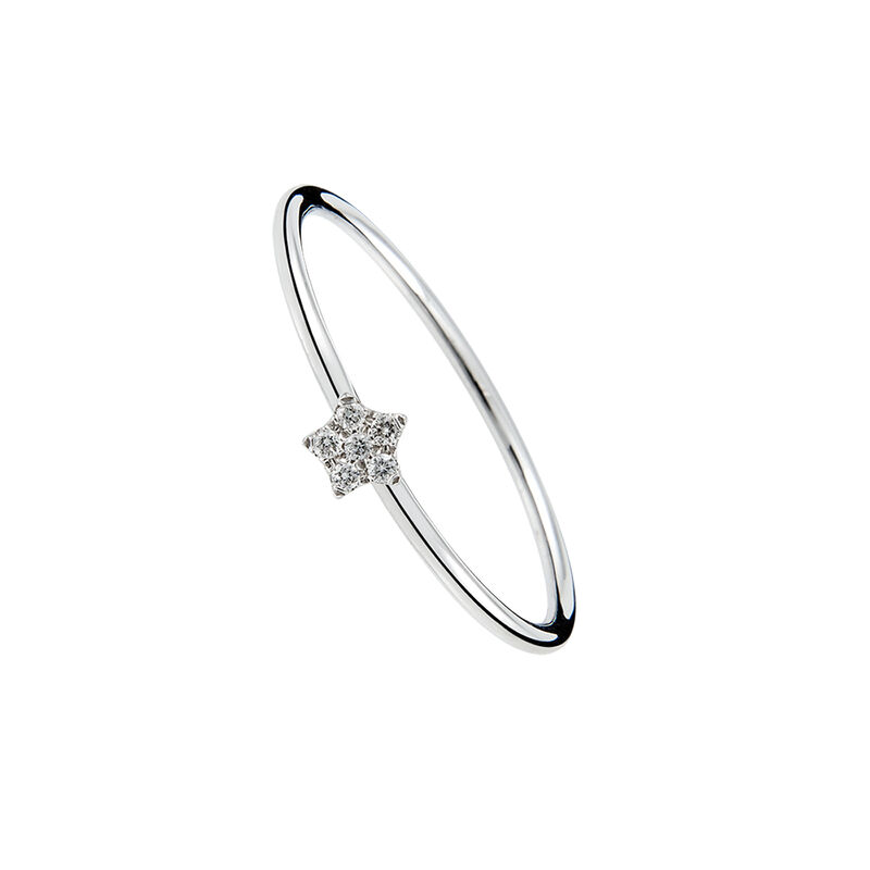 Anillo estrella oro diamantes 0,05 ct, J01347-01, hi-res