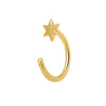Gold star hoop earring cartilage, J03839-02-H, hi-res
