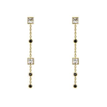 Boucles d'oreilles longues topaze et spinelle argent plaqué or, J04090-02-WT-BSN, hi-res