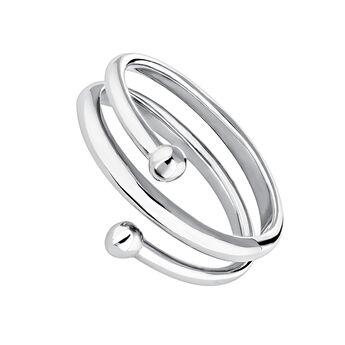 Silver piercing balls spiral ring, J04325-01, hi-res