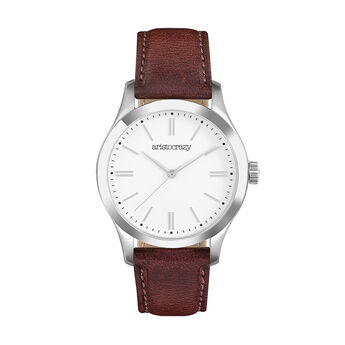 Mitte watch brown white face, W41A-STSTWH-LEBR, hi-res