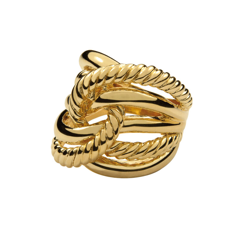 Gold smooth and cabled knot ring, J00609-02, hi-res