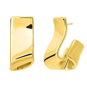 Rectangle gold plated sculptural earrings, J03507-02, hi-res